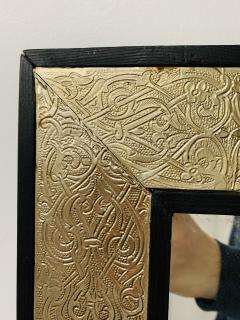Atlas Showroom Hollywood Regency Style Moroccan Mirror in Brass and Wood Frame - 1601475