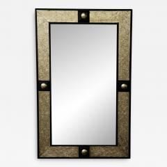 Atlas Showroom Hollywood Regency Style Moroccan Mirror in Brass and Wood Frame - 1605254