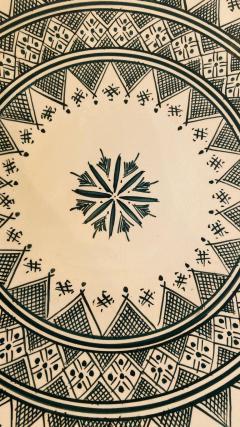 Atlas Showroom Large Handmade Ceramic Dark Green Serving Decorative or Center Table Plate - 1164541