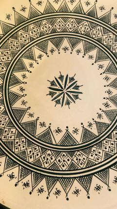 Atlas Showroom Large Handmade Ceramic Dark Green Serving Decorative or Center Table Plate - 1164542