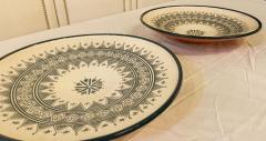 Atlas Showroom Large Handmade Ceramic Dark Green Serving Decorative or Center Table Plate - 1164547