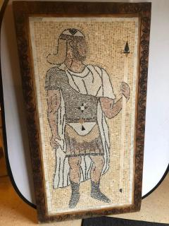 Atlas Showroom Micro Mosaic Tile Wall Plaque or Table Top of a Centurion in Wood Frame - 1037073