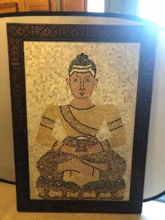 Atlas Showroom Micro Mosaic Tile Wall Plaque or Table Top of a Seated Woman in Wood Frame - 1037068