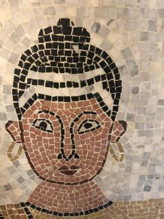 Atlas Showroom Micro Mosaic Tile Wall Plaque or Table Top of a Seated Woman in Wood Frame - 1037069
