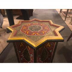 Atlas Showroom Moorish Brass and Wood Moroccan Brown End Table - 1035919