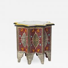 Atlas Showroom Moorish Brass and Wood Moroccan Brown End Table - 1036558