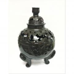 Atlas Showroom Moroccan Black Handcrafted Ceramic Vase or Lantern with Lid - 1062554