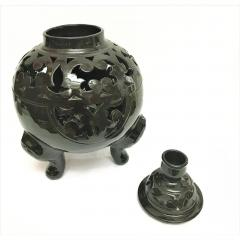 Atlas Showroom Moroccan Black Handcrafted Ceramic Vase or Lantern with Lid - 1062555