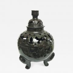 Atlas Showroom Moroccan Black Handcrafted Ceramic Vase or Lantern with Lid - 1063106