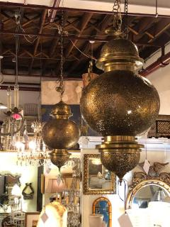 Atlas Showroom Moroccan Chandelier or Pendant in Brass with Filigree Design a Pair - 1710392