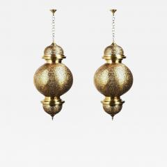Atlas Showroom Moroccan Chandelier or Pendant in Brass with Filigree Design a Pair - 1711139