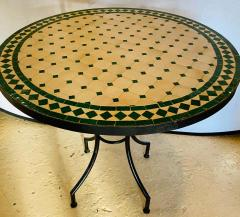 Atlas Showroom Moroccan Mosaic Bistro or Garden Table in Green and Off White - 1462637