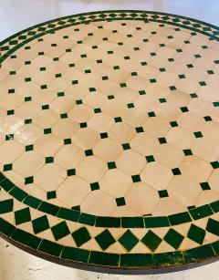 Atlas Showroom Moroccan Mosaic Bistro or Garden Table in Green and Off White - 1462638