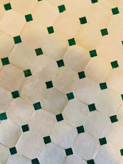 Atlas Showroom Moroccan Mosaic Bistro or Garden Table in Green and Off White - 1462639