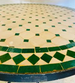 Atlas Showroom Moroccan Mosaic Bistro or Garden Table in Green and Off White - 1462642