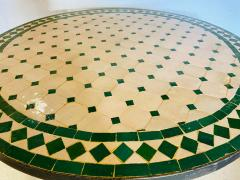 Atlas Showroom Moroccan Mosaic Bistro or Garden Table in Green and Off White - 1462643
