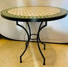Atlas Showroom Moroccan Mosaic Bistro or Garden Table in Green and Off White - 1462644