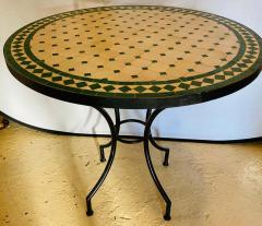 Atlas Showroom Moroccan Mosaic Bistro or Garden Table in Green and Off White - 1462645