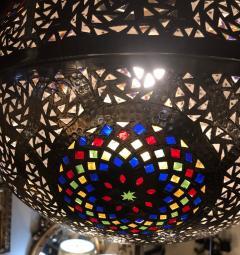 Atlas Showroom Moroccan Silver Handmade Moorish Pendant or Chandelier with Multi Color Glass - 1084708