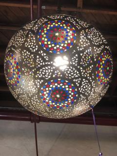 Atlas Showroom Moroccan Silver Handmade Moorish Pendant or Chandelier with Multi Color Glass - 1084709