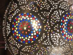 Atlas Showroom Moroccan Silver Handmade Moorish Pendant or Chandelier with Multi Color Glass - 1084715