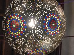 Atlas Showroom Moroccan Silver Handmade Moorish Pendant or Chandelier with Multi Color Glass - 1084717