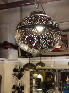 Atlas Showroom Moroccan Silver Handmade Moorish Pendant or Chandelier with Multi Color Glass - 1084718