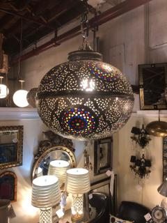 Atlas Showroom Moroccan Silver Handmade Moorish Pendant or Chandelier with Multi Color Glass - 1084719