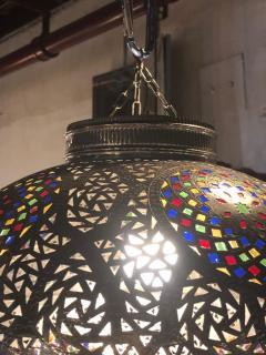 Atlas Showroom Moroccan Silver Handmade Moorish Pendant or Chandelier with Multi Color Glass - 1084720