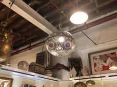 Atlas Showroom Moroccan Silver Handmade Moorish Pendant or Chandelier with Multi Color Glass - 1084721