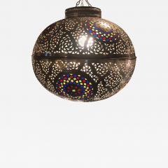 Atlas Showroom Moroccan Silver Handmade Moorish Pendant or Chandelier with Multi Color Glass - 1085010