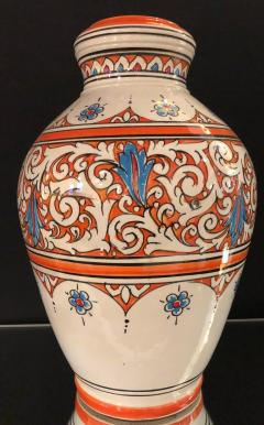 Atlas Showroom Moroccan Vintage Hand Painted Orange White and Blue Vase - 1084846