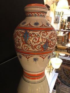 Atlas Showroom Moroccan Vintage Hand Painted Orange White and Blue Vase - 1084849