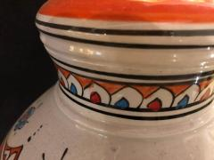 Atlas Showroom Moroccan Vintage Hand Painted Orange White and Blue Vase - 1084850