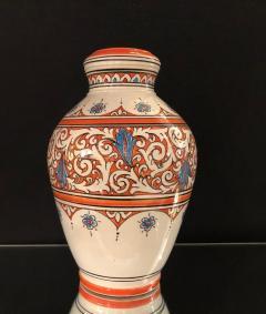 Atlas Showroom Moroccan Vintage Hand Painted Orange White and Blue Vase - 1084851