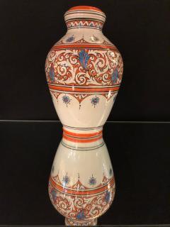 Atlas Showroom Moroccan Vintage Hand Painted Orange White and Blue Vase - 1084852