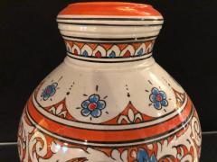 Atlas Showroom Moroccan Vintage Hand Painted Orange White and Blue Vase - 1084853
