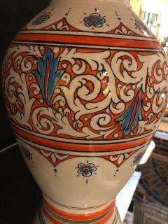 Atlas Showroom Moroccan Vintage Hand Painted Orange White and Blue Vase - 1084854