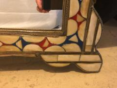 Atlas Showroom Moroccan White Red and Blue Colored Bone over Brass Frame Floor Wall Mirror - 1024905