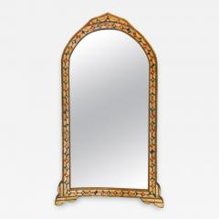 Atlas Showroom Moroccan White Red and Blue Colored Bone over Brass Frame Floor Wall Mirror - 1025556