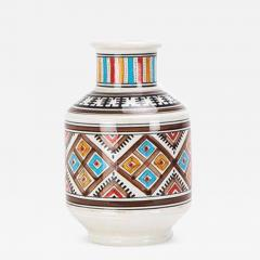 Atlas Showroom Moroccan hand crafted Square Brown and White Vase - 1063524