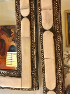 Atlas Showroom Pair of Large Hollywood Regency Style Moroccan White Camel Bone Mirrors - 1024661