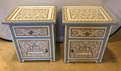 Atlas Showroom Pair of Moorish Style White Blue Gray and Burgundy Night Stand or End Tables - 1027212