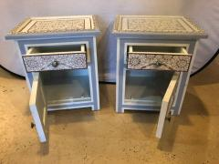Atlas Showroom Pair of Moorish Style White Blue Gray and Burgundy Night Stand or End Tables - 1027213