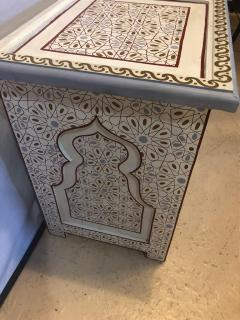 Atlas Showroom Pair of Moorish Style White Blue Gray and Burgundy Night Stand or End Tables - 1027215