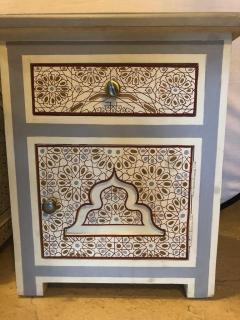 Atlas Showroom Pair of Moorish Style White Blue Gray and Burgundy Night Stand or End Tables - 1027220
