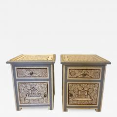 Atlas Showroom Pair of Moorish Style White Blue Gray and Burgundy Night Stand or End Tables - 1027422