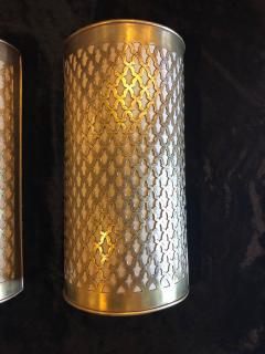 Atlas Showroom Pair of Moroccan Brass Wall Lanterns Sconces - 1024725