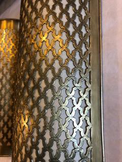 Atlas Showroom Pair of Moroccan Brass Wall Lanterns Sconces - 1024729