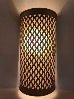 Atlas Showroom Pair of Moroccan Brass Wall Lanterns Sconces - 1024736